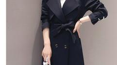 新品韩版简约修身长袖中长款春季双排气质纯色风衣显瘦女风衣女
