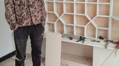 范氏装潢铺木工装修的电视柜、大八棱背景墙效果图